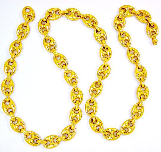 Foto 1, Neu!! Bohnen Kette 1A Plastisch! 18K/750 Gelbgold Luxus, K2845