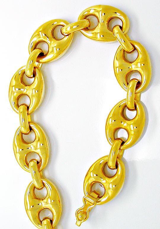 Foto 2, Neu!! Bohnen Kette 1A Plastisch! 18K/750 Gelbgold Luxus, K2845