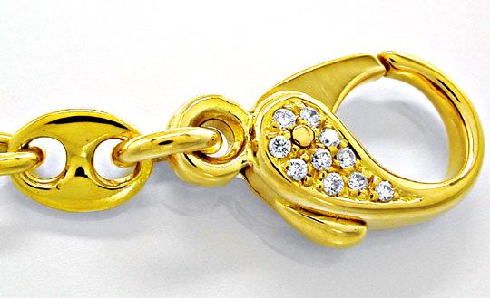 Foto 2, Bohnenkette massiv Diamant Karabiner 18K/750 Luxus! Neu, K2849