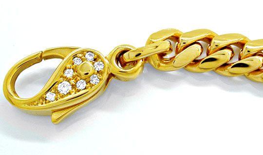 Foto 2, Panzerarmband massiv! 14K Diamant Karabiner Luxus! Neu!, K2850