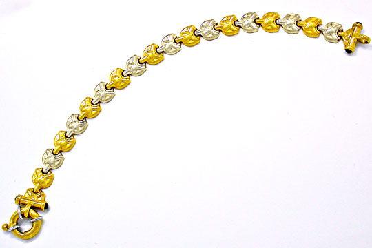 Foto 1, Designer Armband, 4 Safire, 18K/750 Bicolor Luxus! Neu!, K2851