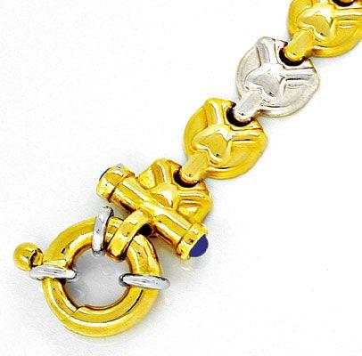 Foto 2, Designer Armband, 4 Safire, 18K/750 Bicolor Luxus! Neu!, K2851