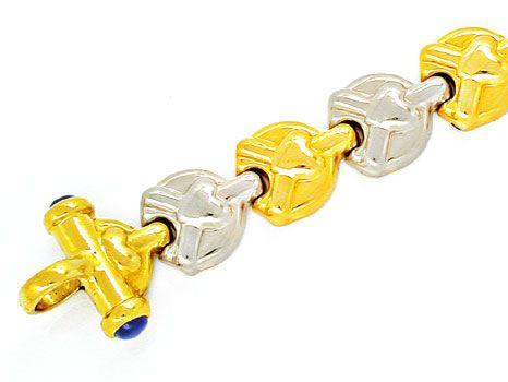 Foto 3, Designer Armband, 4 Safire, 18K/750 Bicolor Luxus! Neu!, K2851