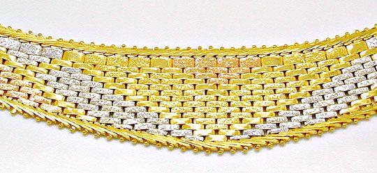 Foto 1, Designer Kollier Gelbgold Rotgold Weissgold Luxus! Neu!, K2853
