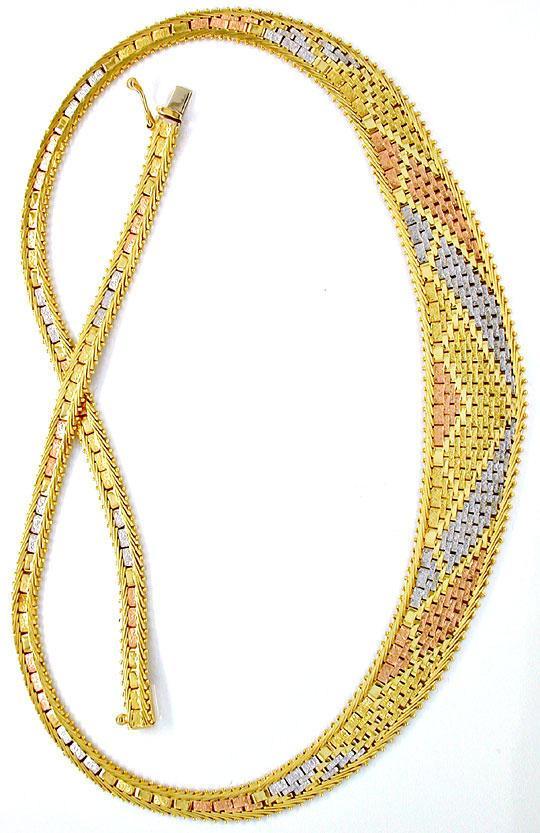 Foto 4, Designer Kollier Gelbgold Rotgold Weissgold Luxus! Neu!, K2853