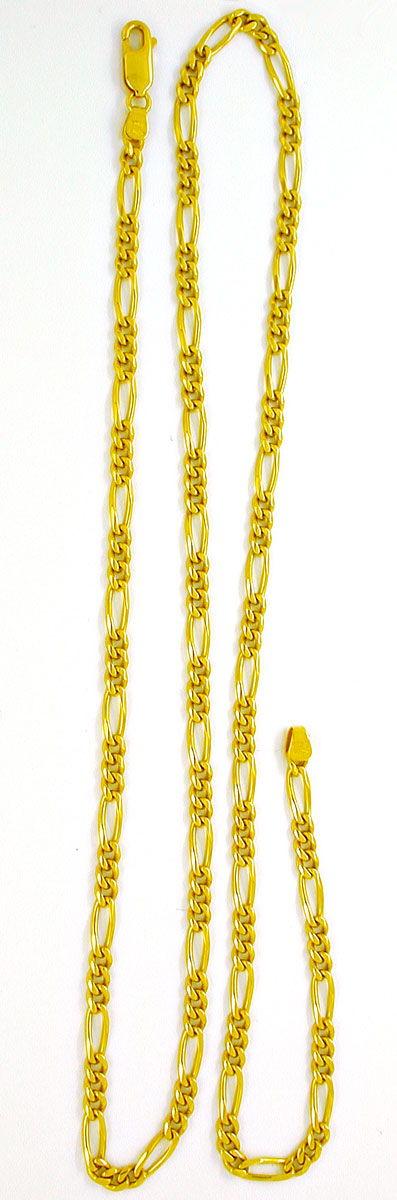 Foto 3, Tolle Figaro Kette, massiv Gelbgold 18K/750, Shop Neu!!, K2858