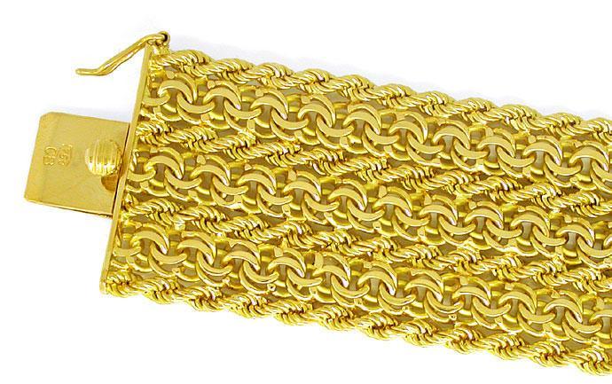 Foto 1, Breites Designer Garibaldi Kordel Armband, 18K Gelbgold, K2867