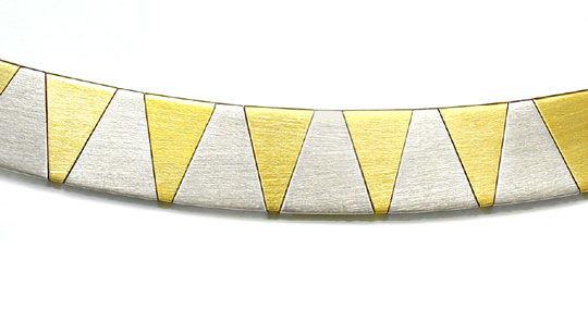 Foto 1, 1A Design Kollier massiv Gelbgold Weissgold Luxus! Neu!, K2874