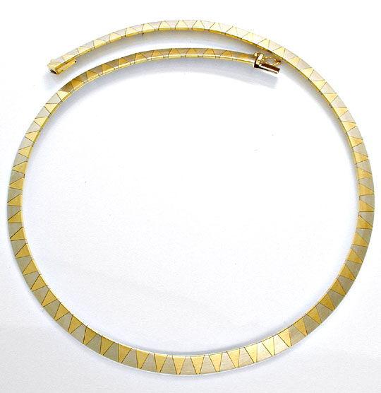Foto 2, 1A Design Kollier massiv Gelbgold Weissgold Luxus! Neu!, K2874
