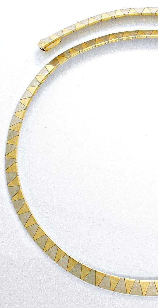 Foto 3, 1A Design Kollier massiv Gelbgold Weissgold Luxus! Neu!, K2874