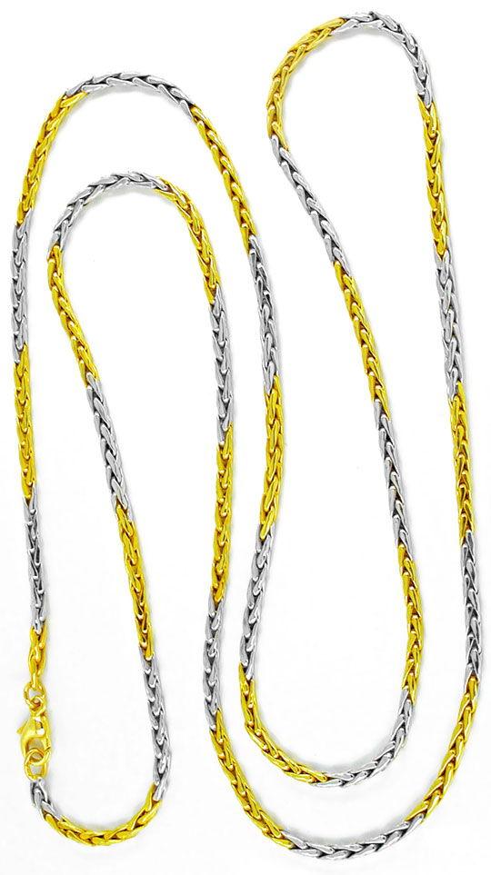 Foto 2, Neu!! sehr schöne Kette Gelbgold Bicolor 14K/585 Luxus!, K2876
