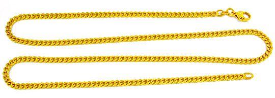 Foto 2, Massive Gelbgoldene Flachpanzer Kette 14K 57cm Shop Neu, K2879