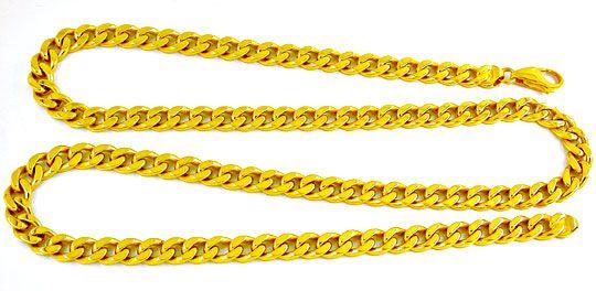 Foto 2, Flachpanzer Kette Extra Massiv Gelbgold 18K Luxus! Neu!, K2887