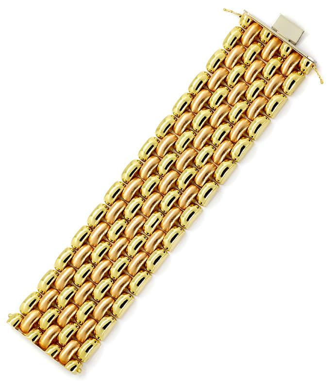Foto 4, Luxuriöses breites Armband Gelbgold und Rotgold 14K/585, K2891
