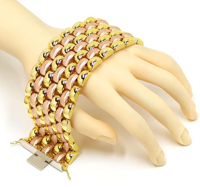 Foto 5, Luxuriöses breites Armband Gelbgold und Rotgold 14K/585, K2891