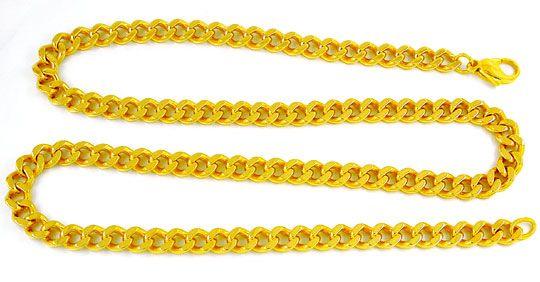 Foto 2, Flachpanzer Kette, massiv Gelbgold 14K/585, Luxus! Neu!, K2896