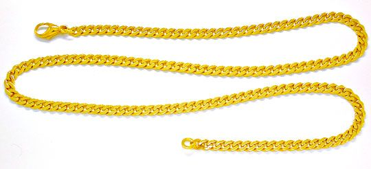 Foto 2, Top Flachpanzer Kette massiv Gelbgold 14K/585 Shop Neu!, K2899