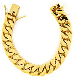 Foto 1, Flachpanzer Goldarmband massiv Gelbgold 130G 18K Luxus!, K2904