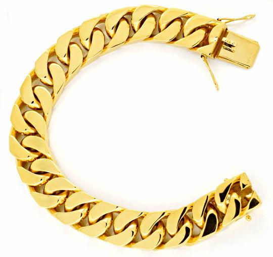 Foto 2, Flachpanzer Goldarmband massiv Gelbgold 130G 18K Luxus!, K2904
