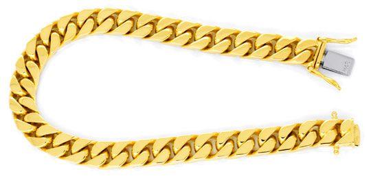 Foto 1, Flachpanzer Goldarmband, massiv Gelbgold 49G 18K Luxus!, K2906