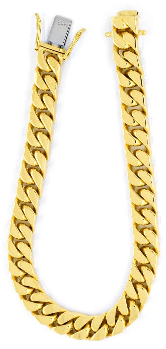 Foto 2, Flachpanzer Goldarmband, massiv Gelbgold 49G 18K Luxus!, K2906