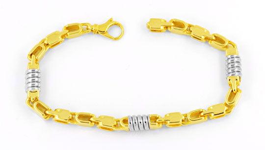 Foto 1, Designer Armband, 18K massiv Gelbgold Weissgold, Luxus!, K2909