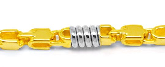 Foto 2, Designer Armband, 18K massiv Gelbgold Weissgold, Luxus!, K2909