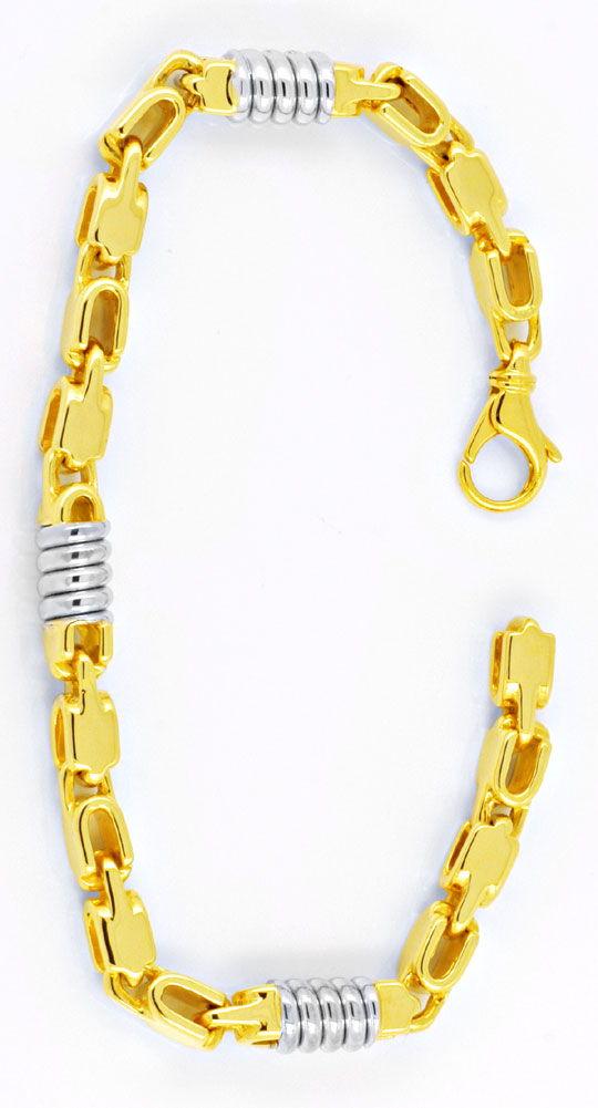 Foto 3, Designer Armband, 18K massiv Gelbgold Weissgold, Luxus!, K2909