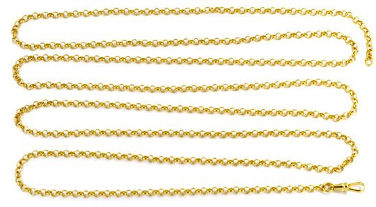 Foto 1, Antike Erbsen Gold Schieberkette 14K, Karabiner, Luxus!, K2913