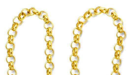 Foto 2, Antike Erbsen Gold Schieberkette 14K, Karabiner, Luxus!, K2913