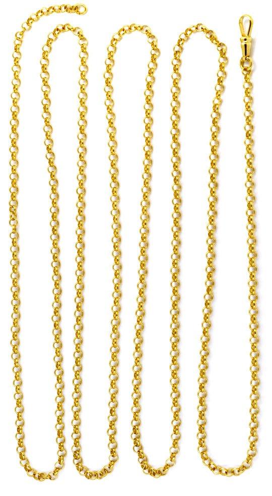 Foto 3, Antike Erbsen Gold Schieberkette 14K, Karabiner, Luxus!, K2913