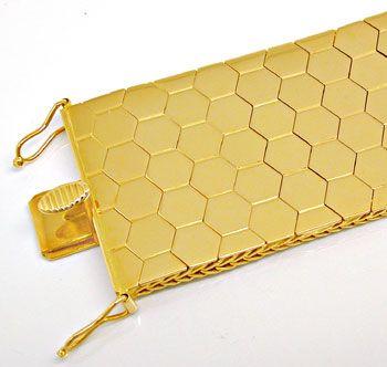 Foto 1, Gelbgold Waben Armband Kastenverschluss 18K Luxus! Neu!, K2915