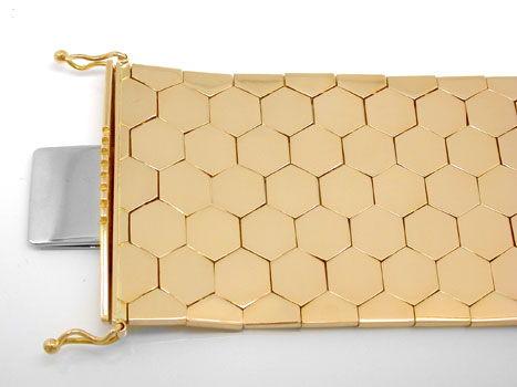 Foto 1, Waben Armband, Rötliches Gelbgold 18K/750 Luxus! - Neu!, K2919