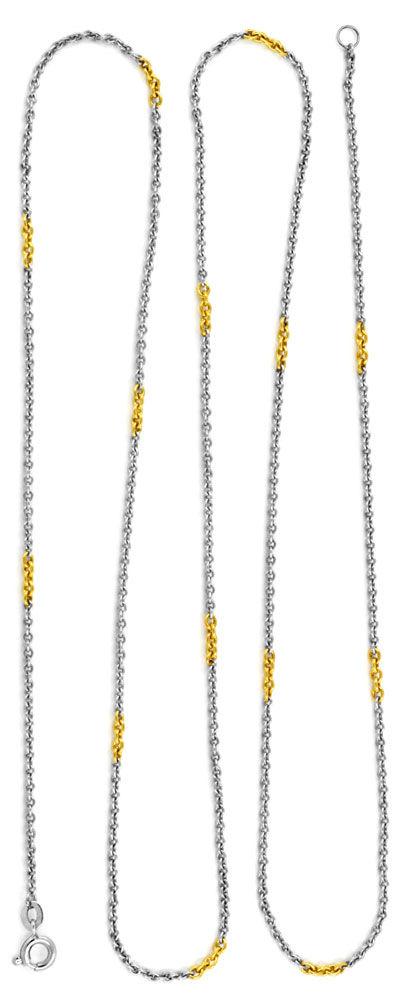 Foto 3, Platin Ankerkette massiv, mit Gelbgold Elementen Luxus!, K2920