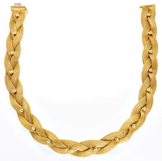 Foto 3, Goldkollier Strumpf Goldkette Geflochten 18K/750 Luxus!, K2924
