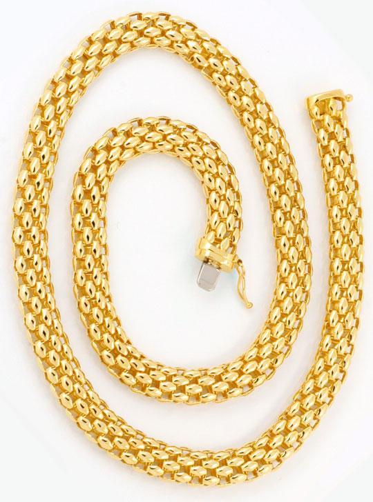 Foto 2, Modernes Ovales Ketten Kollier, Gelbgold 18K/750 Luxus!, K2927