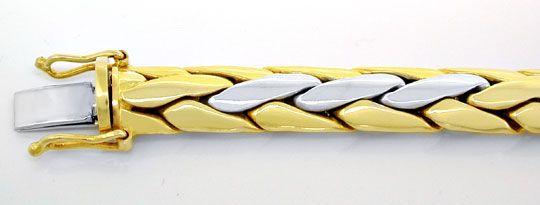 Foto 1, Gewölbtes Zopf Armband, Gelbgold Weissgold, Luxus! Neu!, K2930