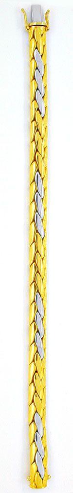 Foto 3, Gewölbtes Zopf Armband, Gelbgold Weissgold, Luxus! Neu!, K2930