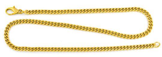 Foto 1, Massive Flachpanzerkette Gelbgold 14K/585 45,2cm Luxus!, K2932