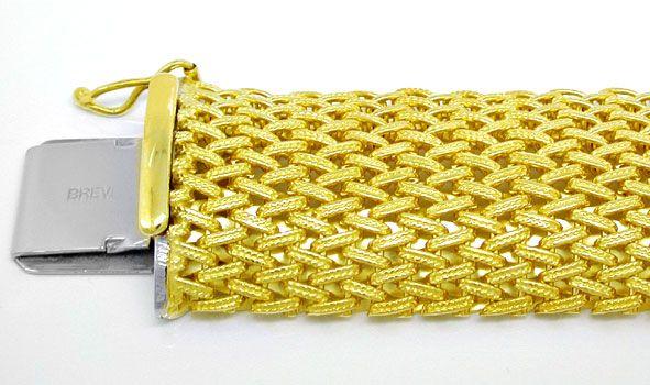 Foto 1, Gelbgold Armband in gewölbtem Fantasie Strickmuster 14K, K2936