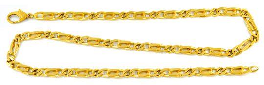 Foto 1, Pfauenauge oder Tigerauge Kette, massiv Gelbgold Luxus!, K2940