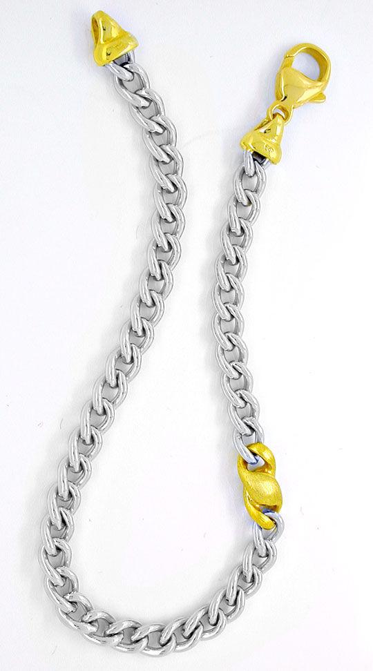 Foto 2, Massives Weissgold Armband, Gelbgold Teile 14K Shop Neu, K2945