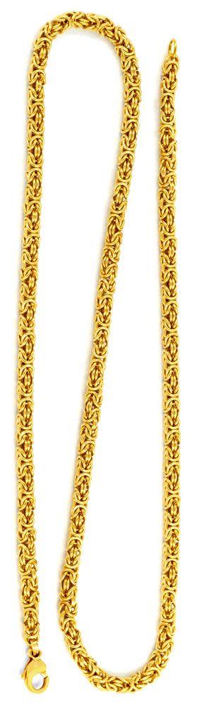 Foto 3, Königskette, massiv Gelbgold 14K 50cm 4,4mm Luxus! Neu!, K2954