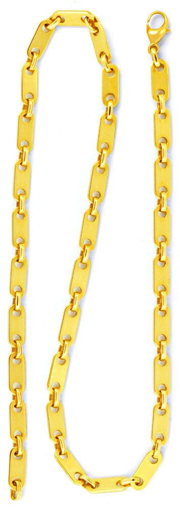 Foto 2, Plättchen Goldkette massiv 14K/585 Gelbgold Luxus! Neu!, K2955