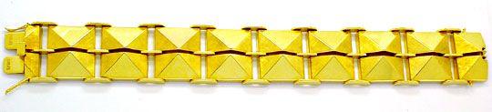 Foto 2, Seltenes Designer Pyramiden Gelbgold Armband Luxus! Neu, K2961