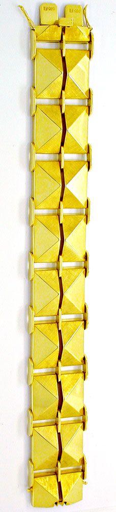Foto 3, Seltenes Designer Pyramiden Gelbgold Armband Luxus! Neu, K2961