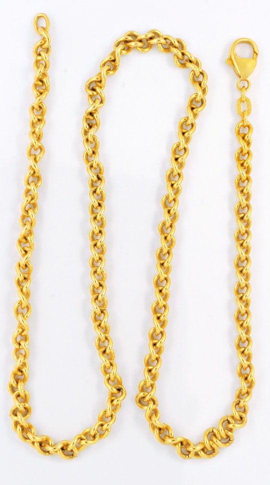 Foto 2, Kette, massiv Gelbgold 585, Karabiner Verschluss Luxus!, K2970