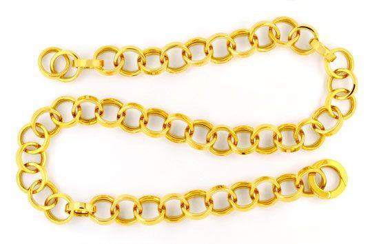 Foto 1, Designer Kette Gelbgold Eckige Ringe 18K/750 Luxus! Neu, K2972