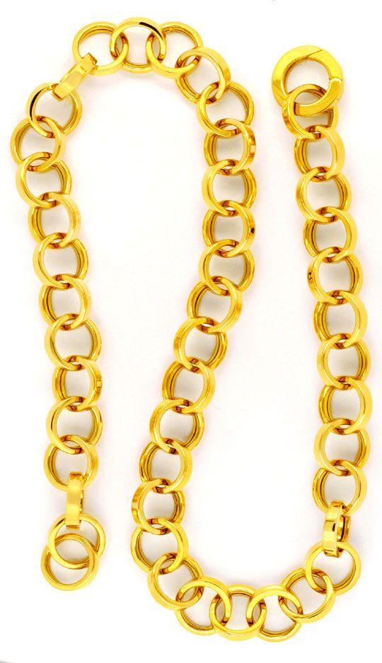 Foto 2, Designer Kette Gelbgold Eckige Ringe 18K/750 Luxus! Neu, K2972