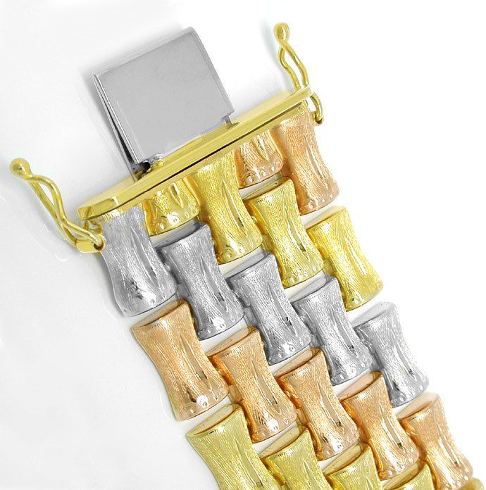 Foto 1, Designer Armband Tricolor handgraviert, 14K Luxus! Neu!, K2975